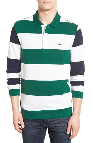 Lyst lacoste long sleeve stripe pique polo in white for men for Lacoste stripe pique polo shirt