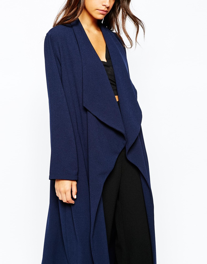 Never Fully Dressed Waterfall Crepe Maxi Duster Coat In