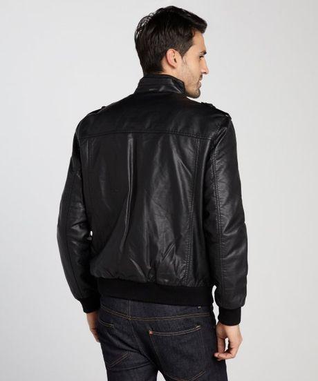 Calvin Klein Black Faux Lamb Bomber Jacket In Black For
