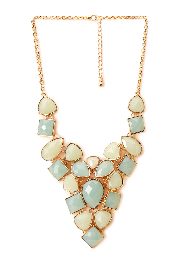 Forever 21 opulent faux gemstone necklace in pink lyst for Thigh jewelry forever 21