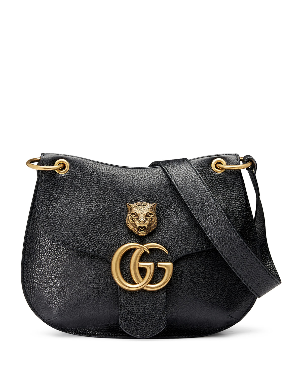 3ed120838402 Gucci Gg Marmont Leather Tiger Bag in Black - Lyst