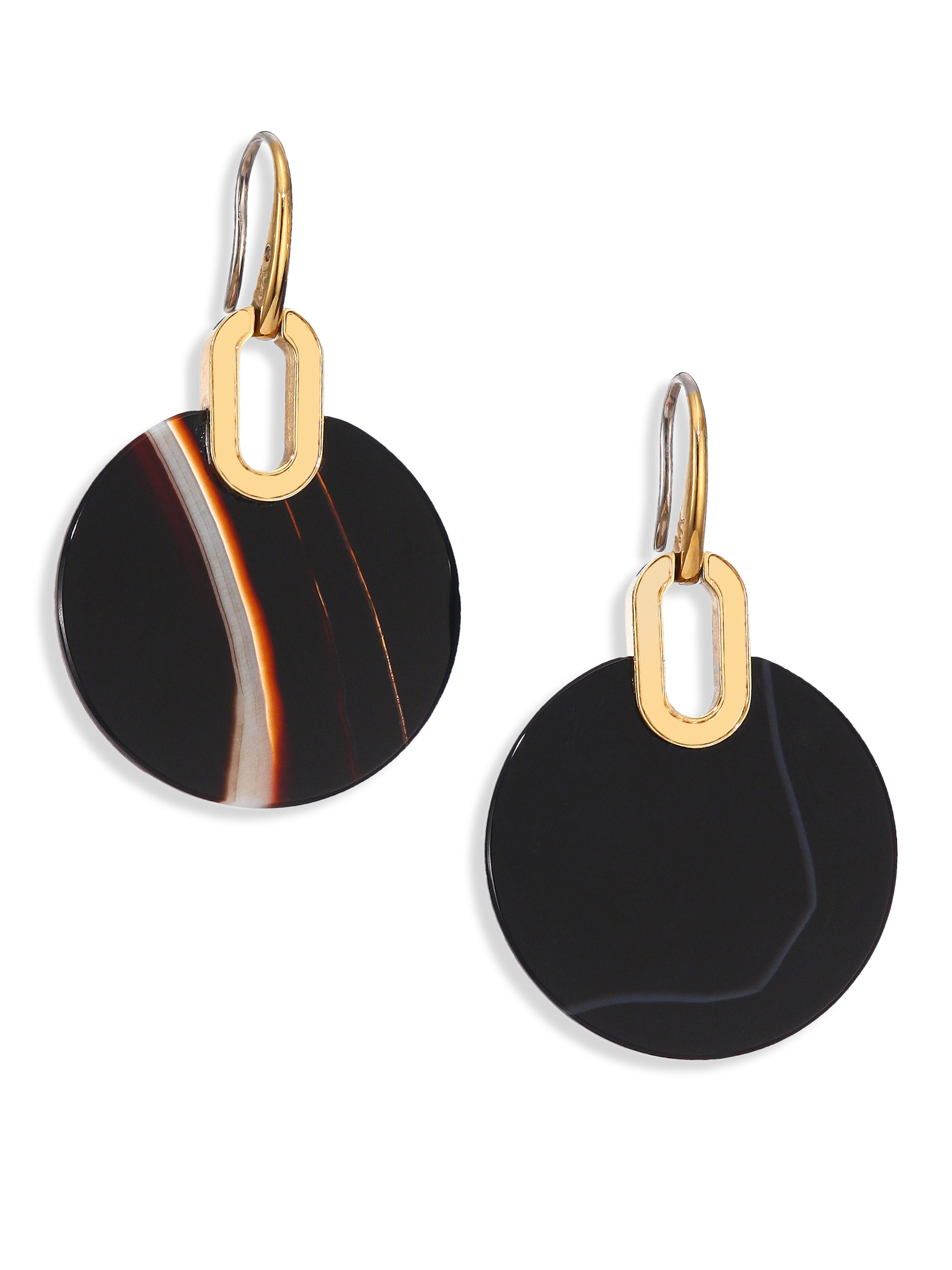 973a410e44d6 Lyst - Michael Kors Cityscape Disc Black Agate Drop Earrings in Metallic
