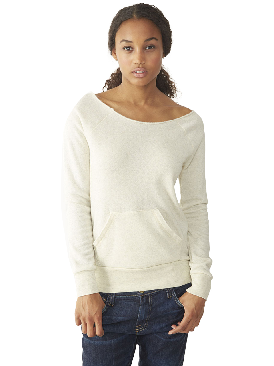 alternative apparel maniac eco fleece sweatshirt in beige