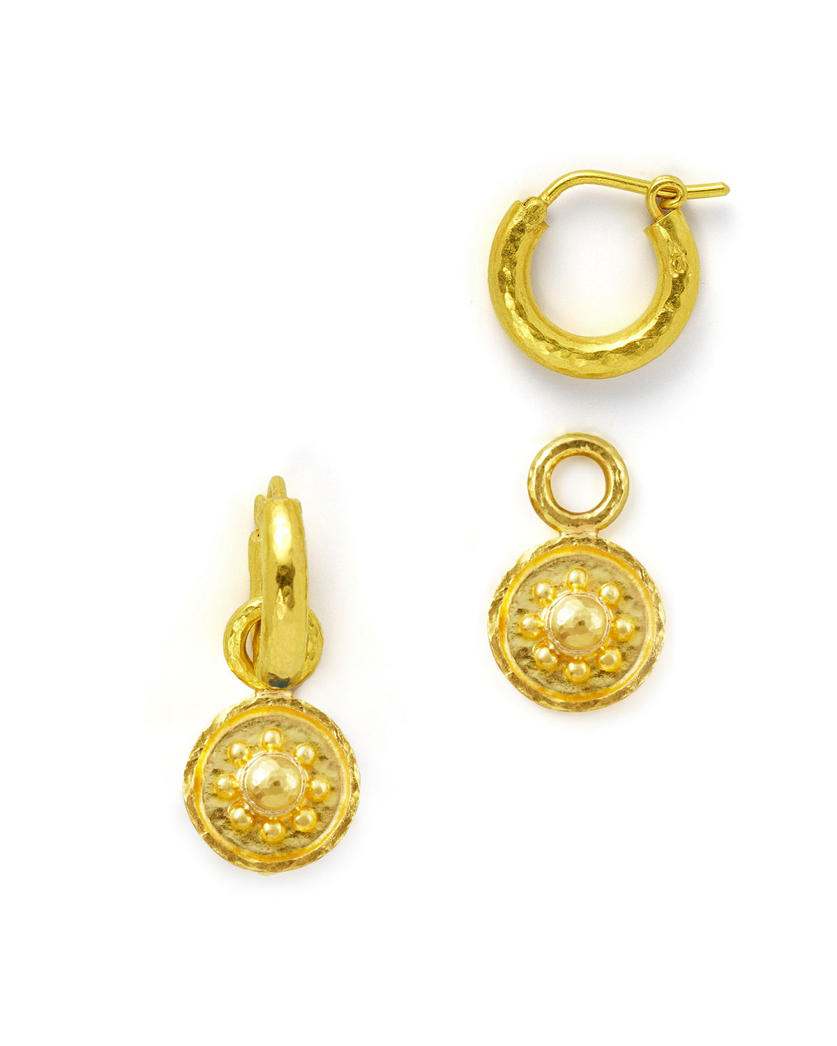 Elizabeth Locke 19k Gold Daisy Disc Earring Pendants jEBb80