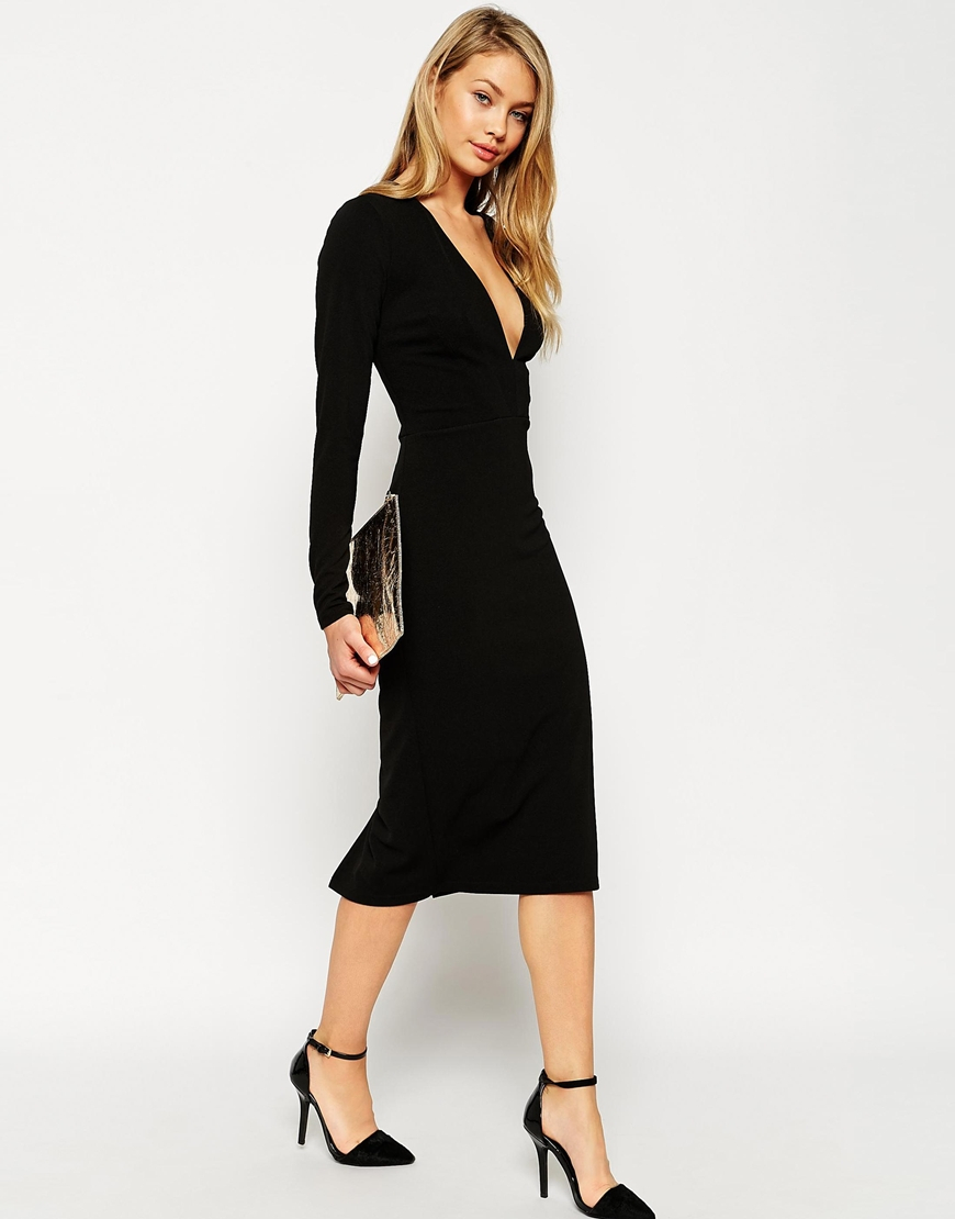Asos Textured Crepe Super Plunge Midi Dress in Black | Lyst