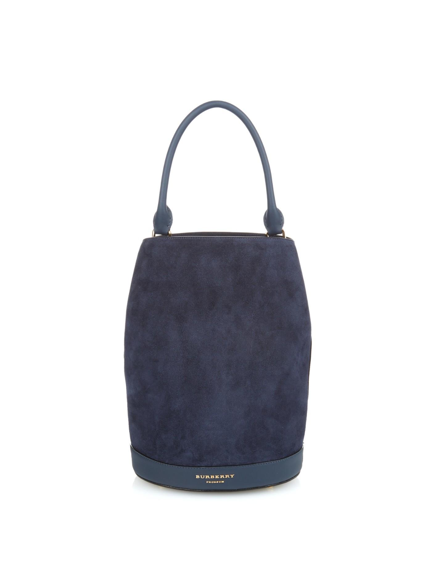 The Large Leather Bucket Bag - Blue Burberry TMoynzv