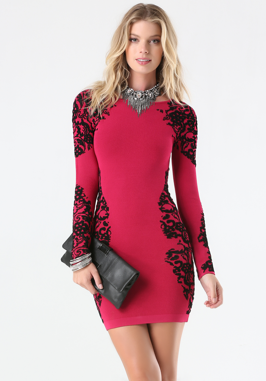 Bebe Jacquard Lace Sweater Dress in Red | Lyst