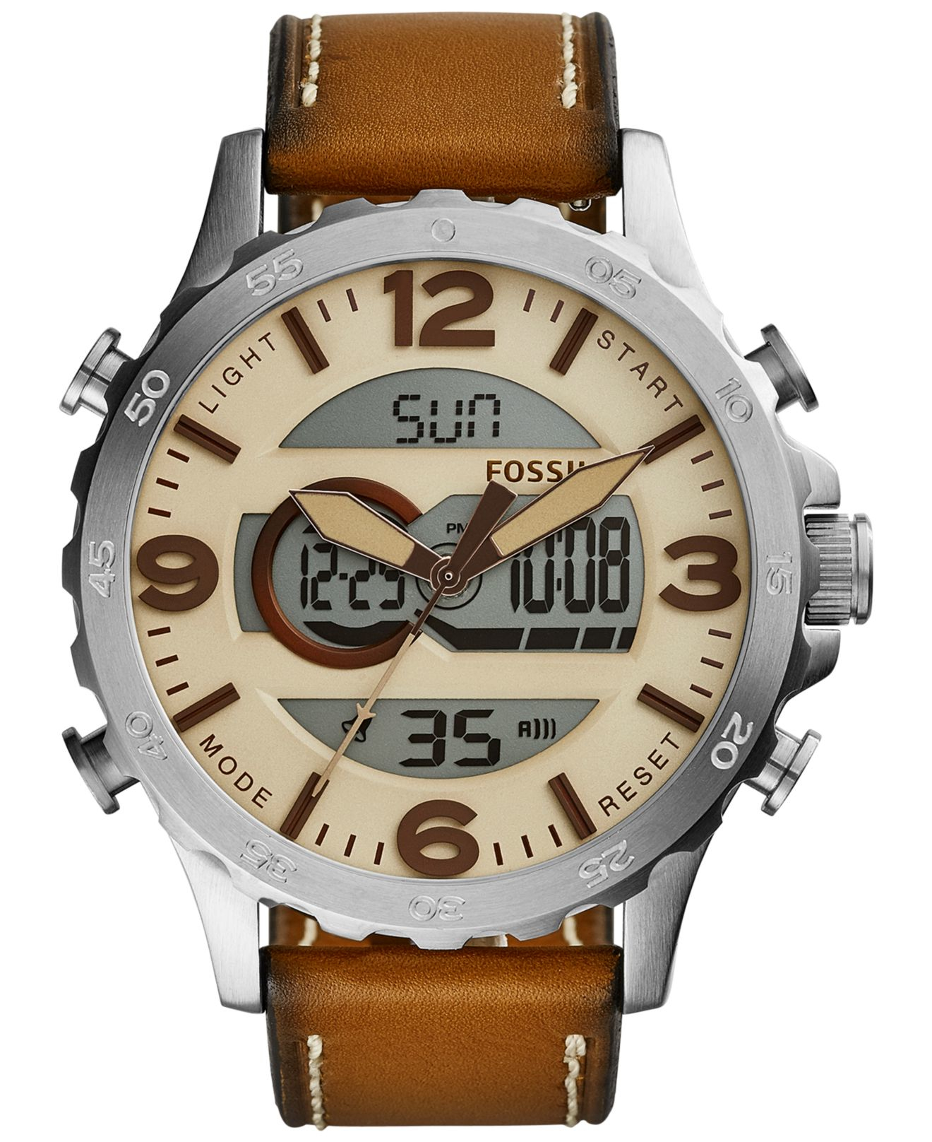 fossil men s analog digital nate tan leather strap watch 50mm gallery