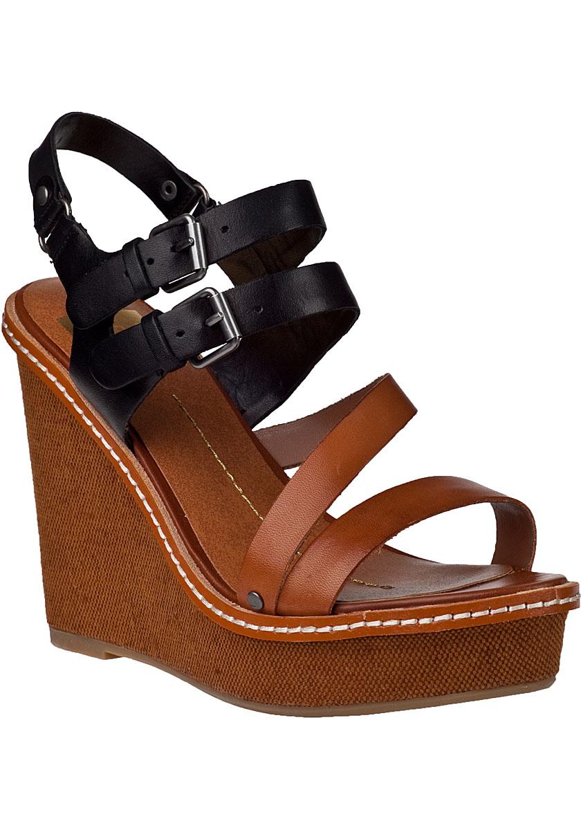 dolce vita jobin wedge sandal black cognac leather in