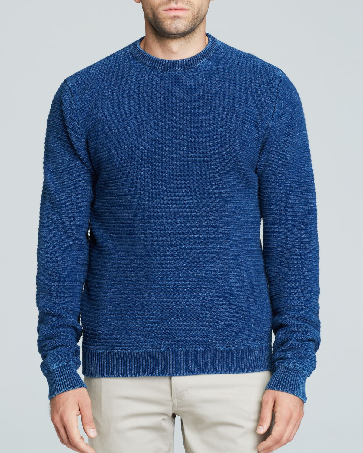 Saturdays nyc Everyday Horizontal Rib Sweater in Blue for Men | Lyst