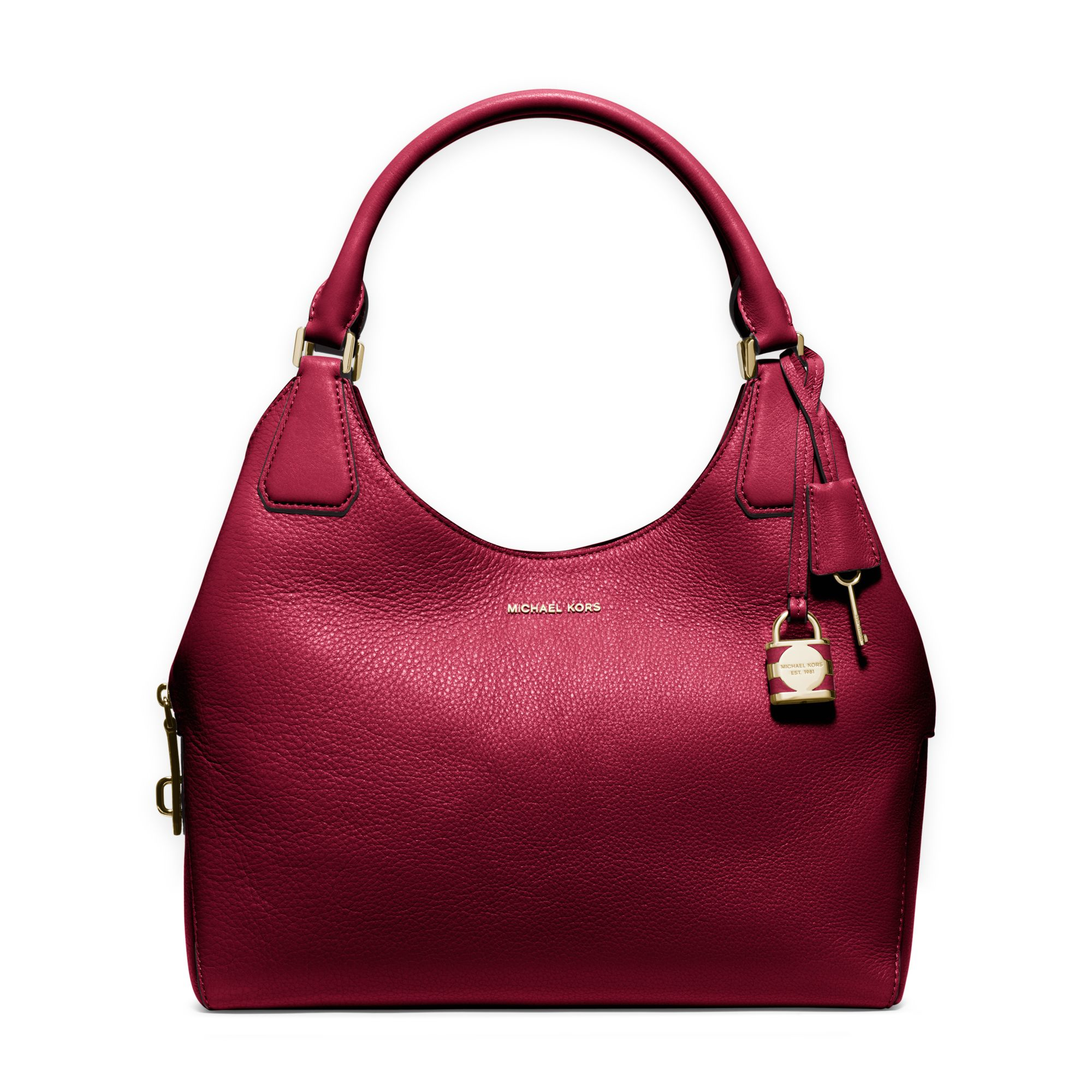 7baa4eb64b28 Michael Kors Camille Large Leather Shoulder Bag in Red - Lyst