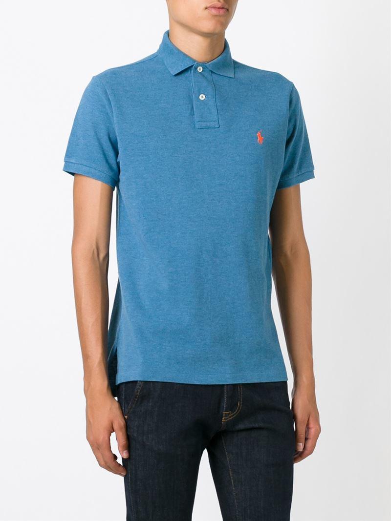Lyst Polo Ralph Lauren Custom Fit Polo Shirt In Blue For Men