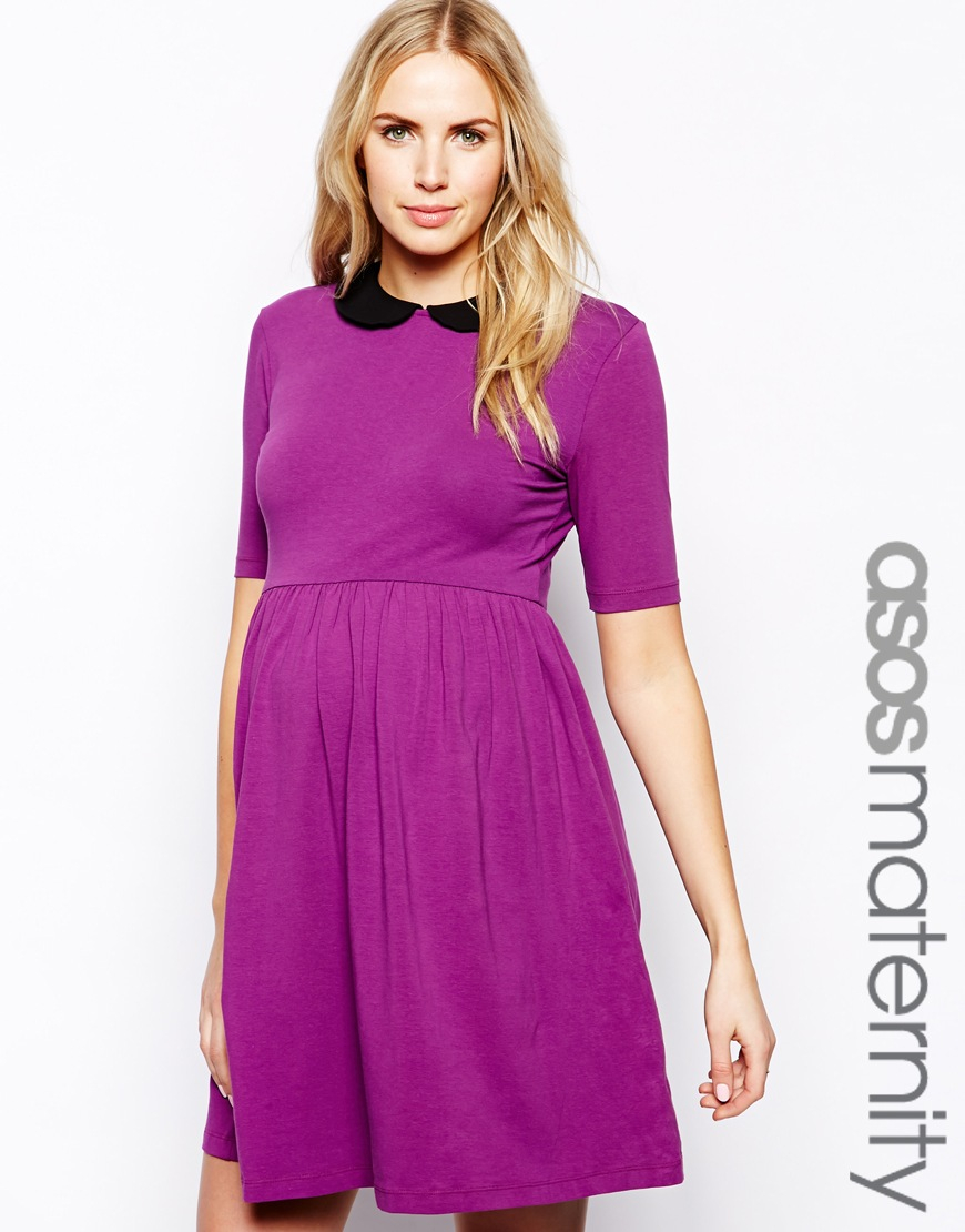 Asos exclusive skater dress with contrast collar and 12 sleeve in gallery ombrellifo Choice Image
