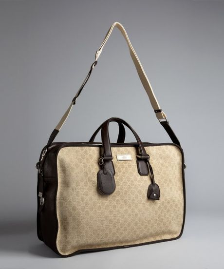 Gucci Beige Gg Canvas And Leather Duffel Bag In Beige For