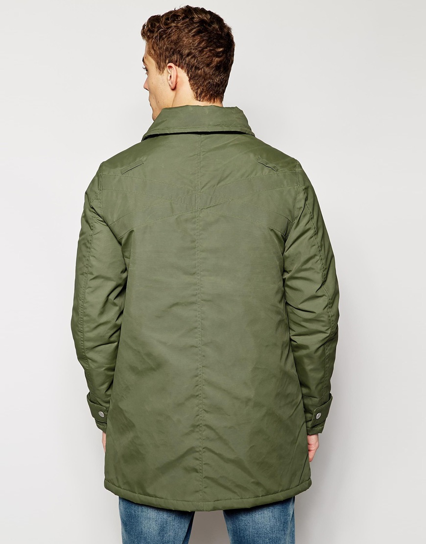 4c21a8c4089d Lyst - Evisu Genes Nylon Padded Trench Coat With Inner Travel Straps in  Green for Men