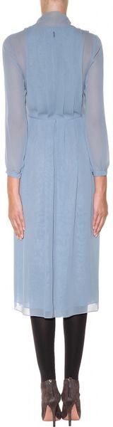 Burberry Prorsum Silk Chiffon Dress In Blue Slate Blue