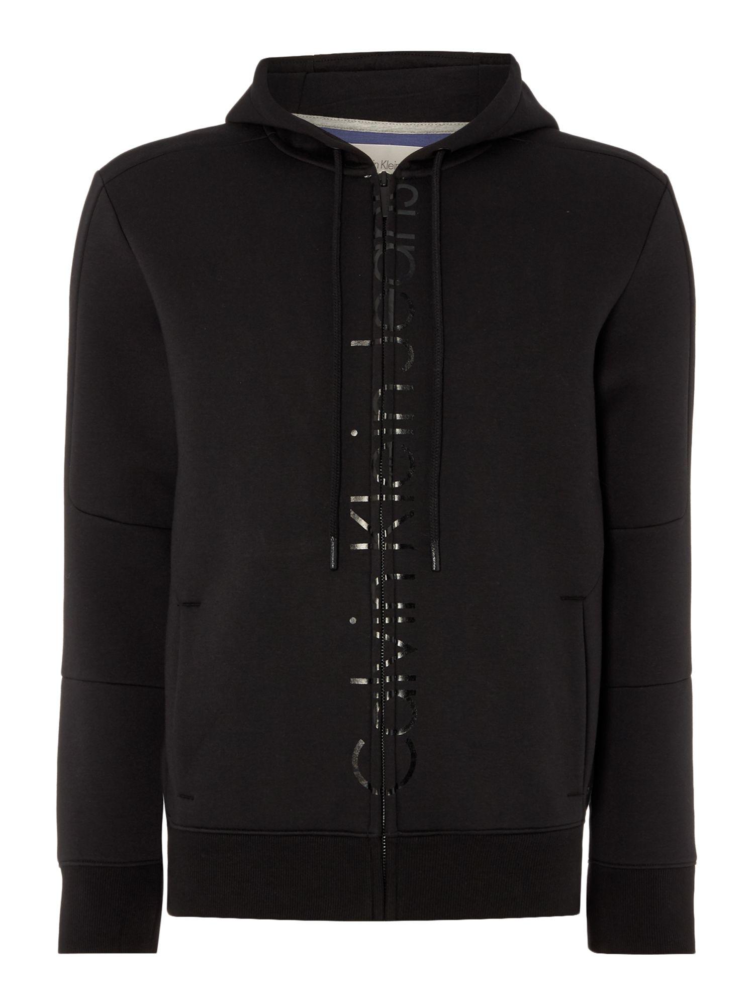 lyst calvin klein jepson long sleeve zip through hoodie in black for men. Black Bedroom Furniture Sets. Home Design Ideas