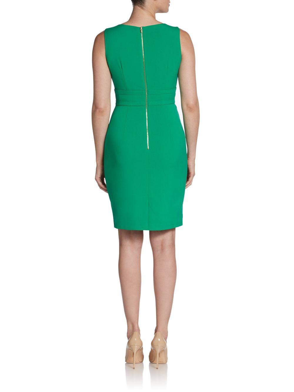 Lyst Calvin Klein Double Belted Sheath Dress In Green