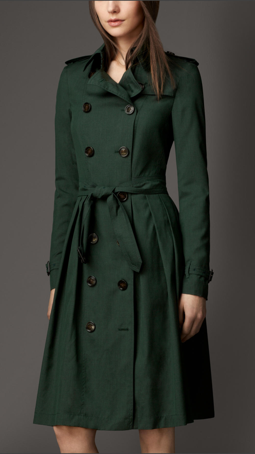 lyst burberry long full skirted wool silk trench coat in green. Black Bedroom Furniture Sets. Home Design Ideas
