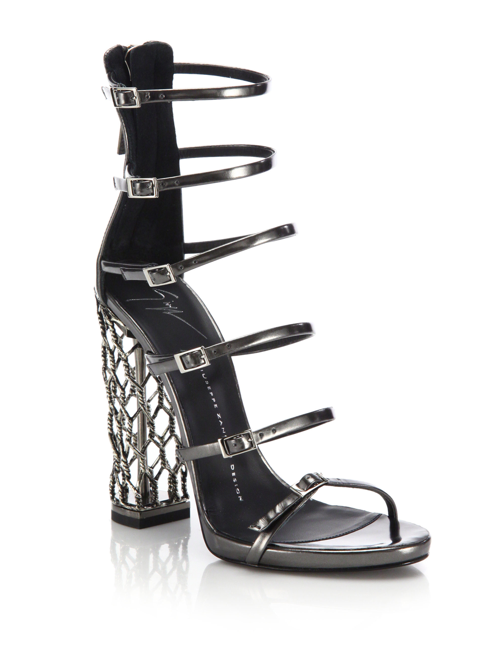 Giuseppe zanotti Metal Cage Heel Strappy Leather Sandals in Gray ...
