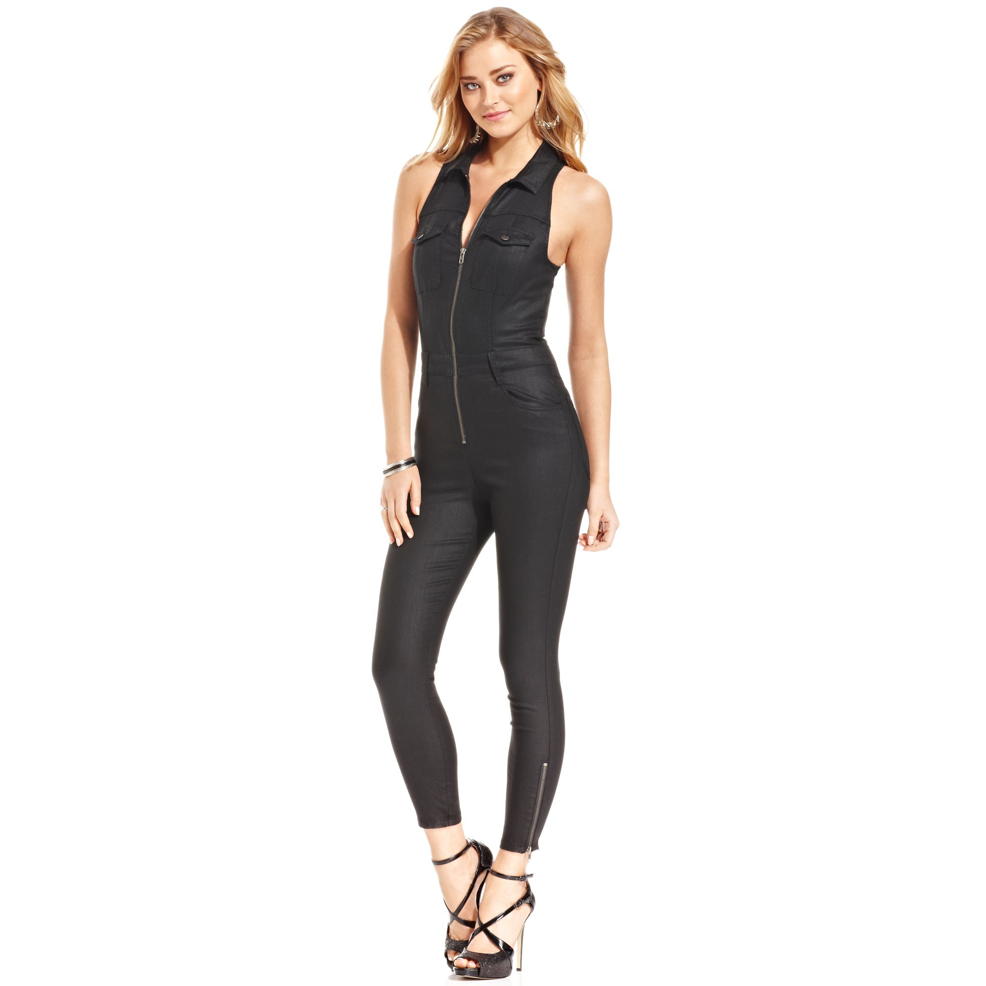 7247d5337043 Lyst - Guess Cara Denim Jumpsuit in Black