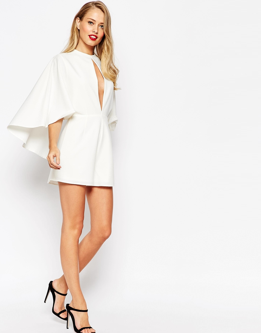 1bed21c5c17 Lyst - ASOS Occasion Playsuit With Cape And Keyhole in White