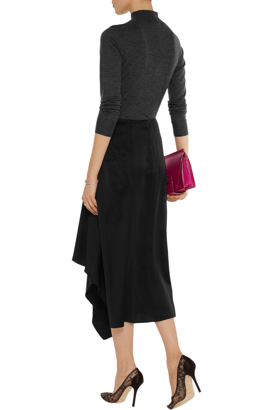 theory sozal draped satin midi skirt in black lyst