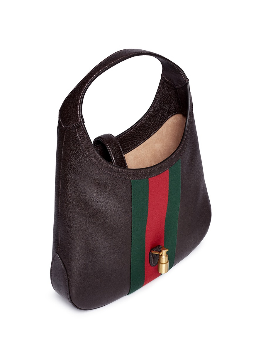 Lyst - Gucci  jackie Soft  Medium Pigprint Leather Hobo Bag in Brown 36618da145
