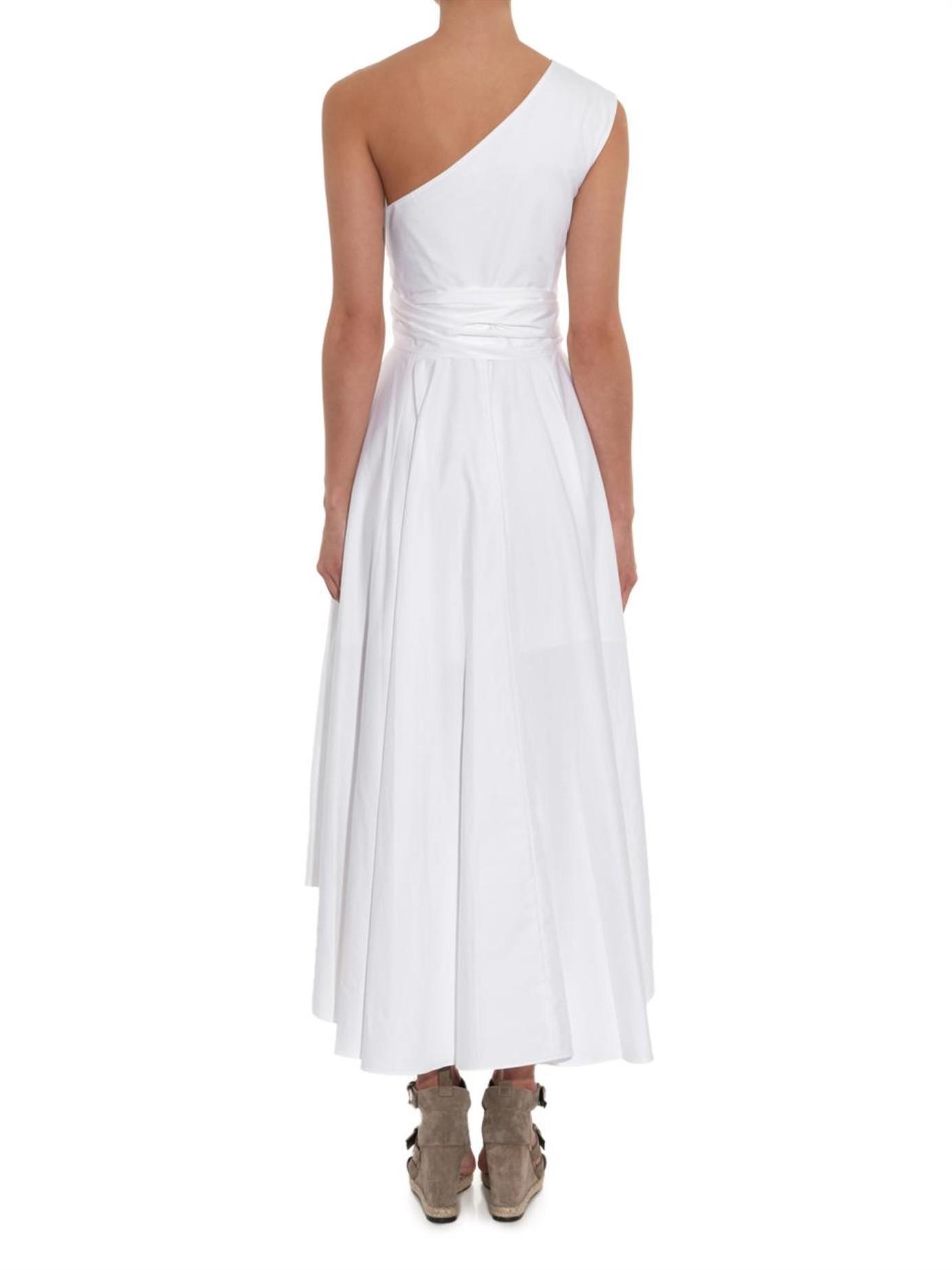 Tibi One Shoulder Cotton Poplin Dress In White Lyst