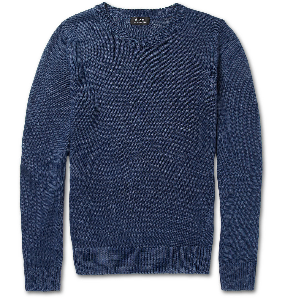 A.p.c. Knitted Linen Sweater in Blue for Men (DARK NAVY) - Save 50% Lyst