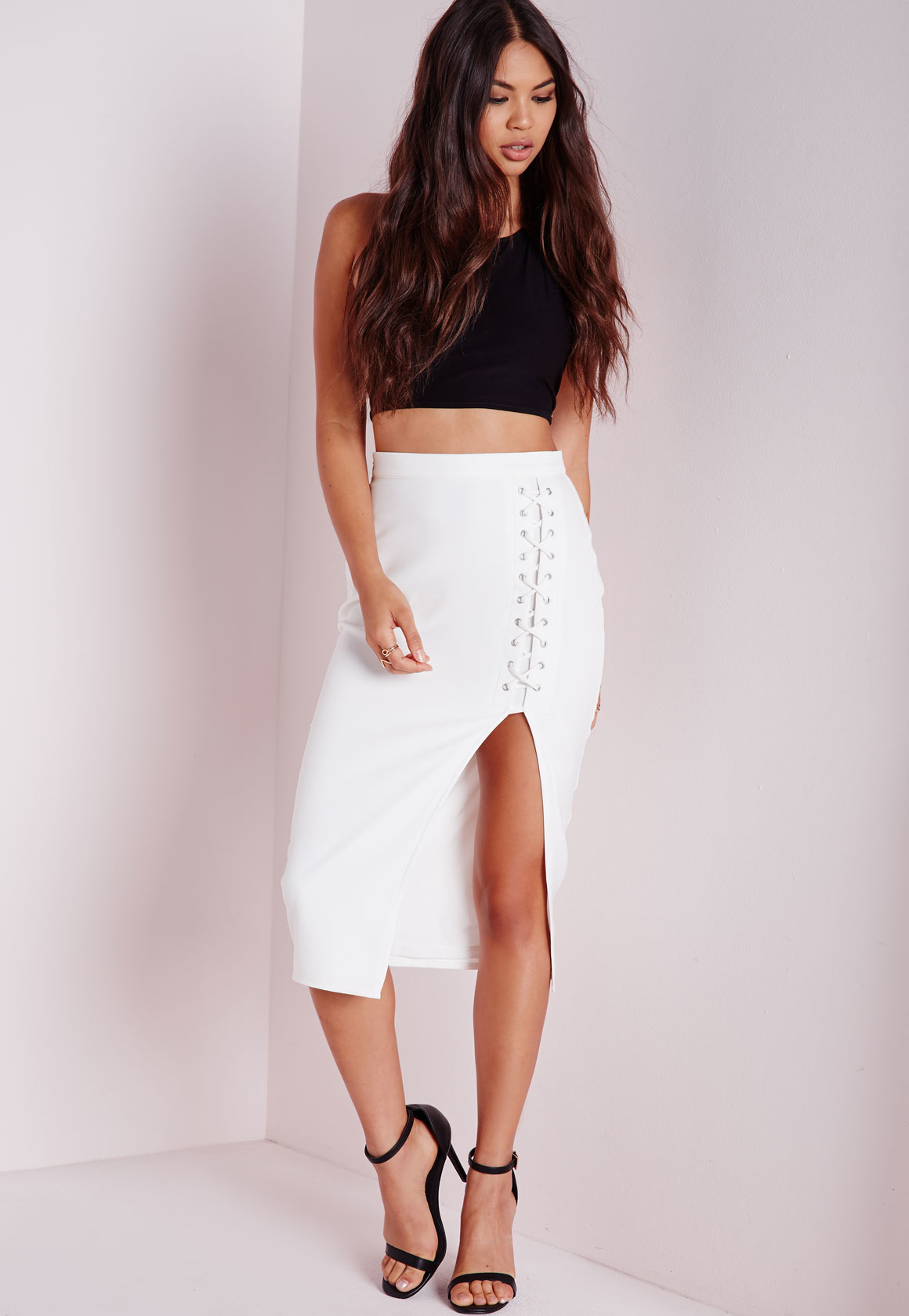 Missguided Lace Up Split Longline Midi Skirt White in White | Lyst