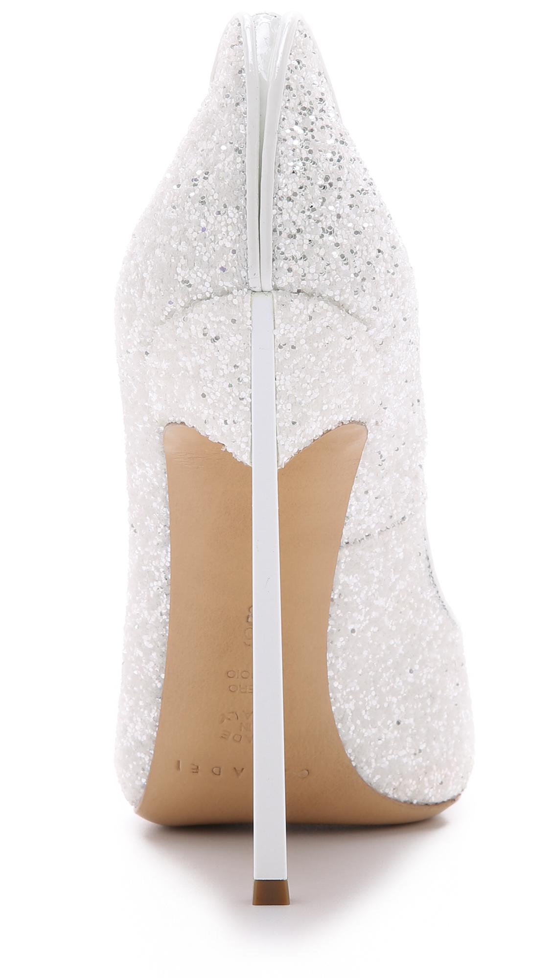 47e2c1885ea0 Lyst - Casadei Glitter Pumps - White in White