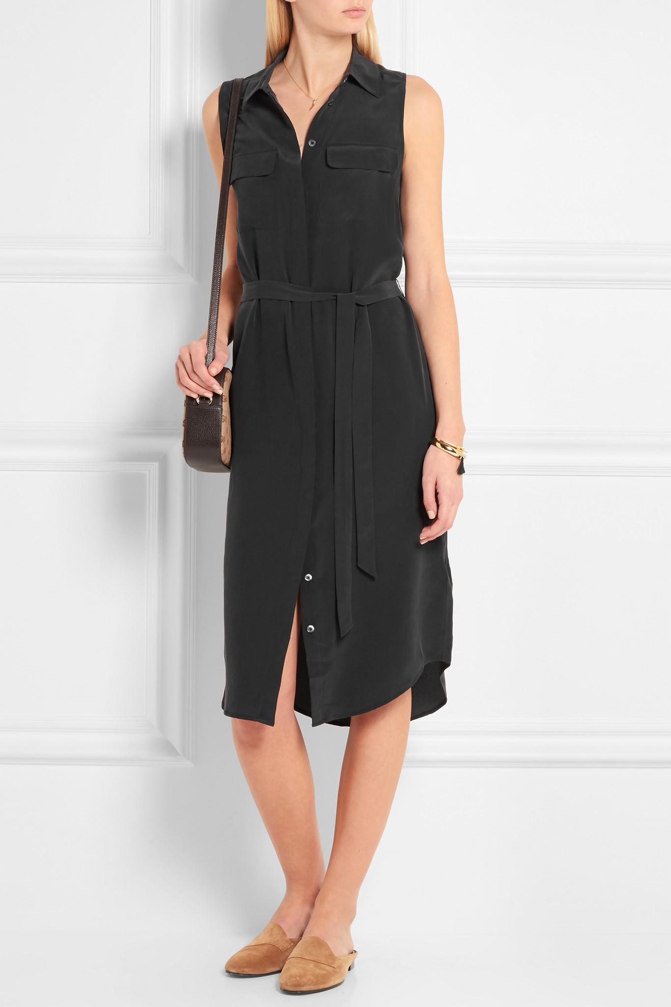 Equipment tegan washed silk shirt dress in black lyst for Equipment black silk shirt