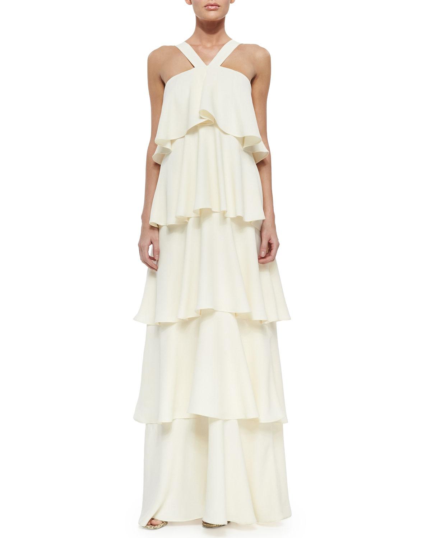 Rachel Zoe Tiered V Neck Maxi Dress In White Lyst