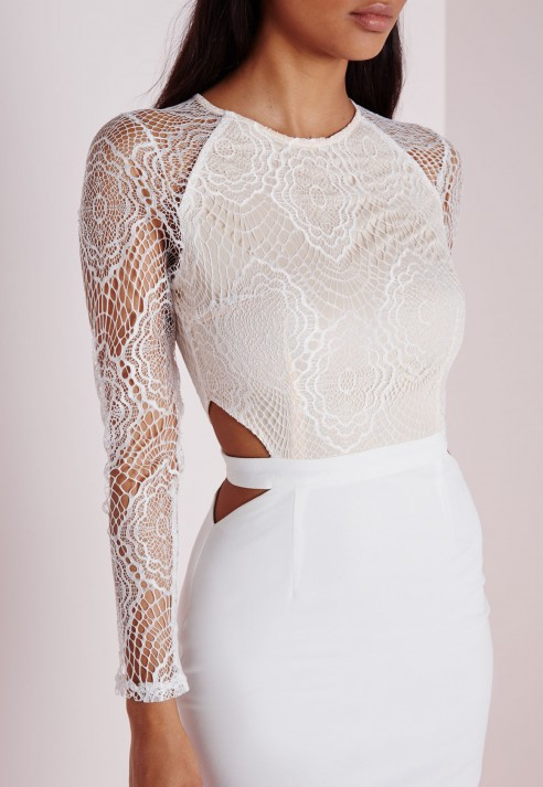Lyst Missguided Lace Long Sleeve Cut Out Midi Dress