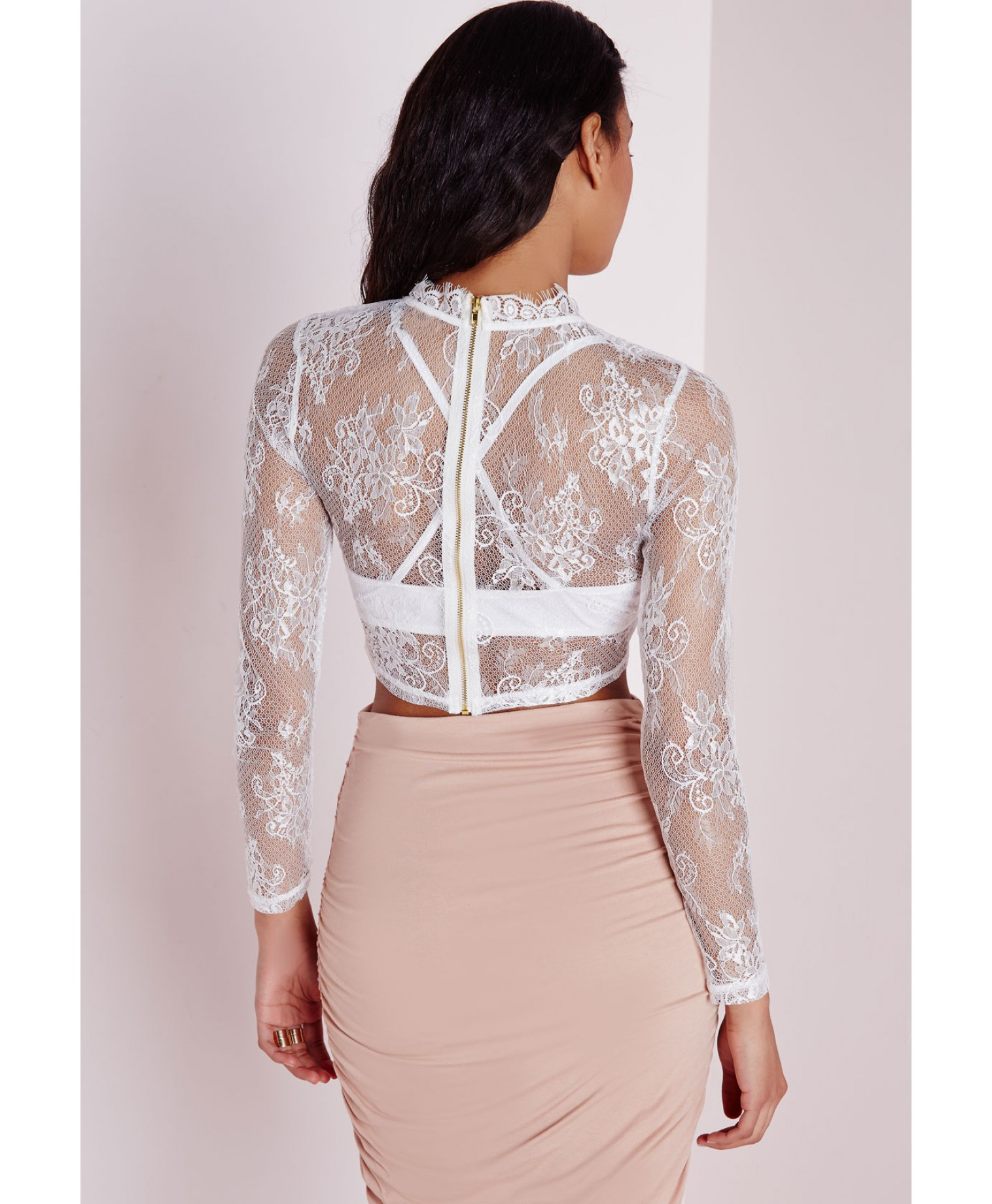 a423a2bbeab3e Lyst - Missguided Long Sleeve Floral Lace Crop Top White