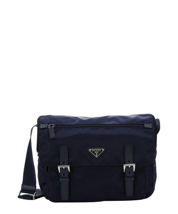 Prada Navy Blue Nylon Medium Messenger Bag in Blue (navy)