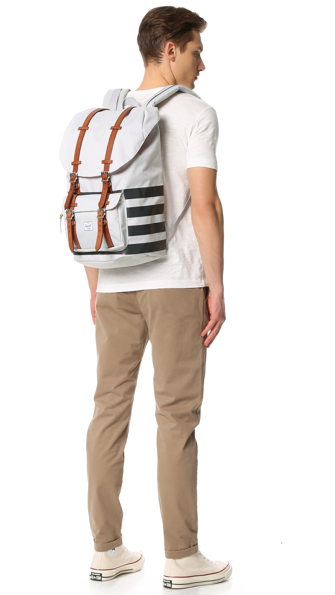 e05c2d54370 Lyst - Herschel Supply Co. Offset Little America Backpack in White ...