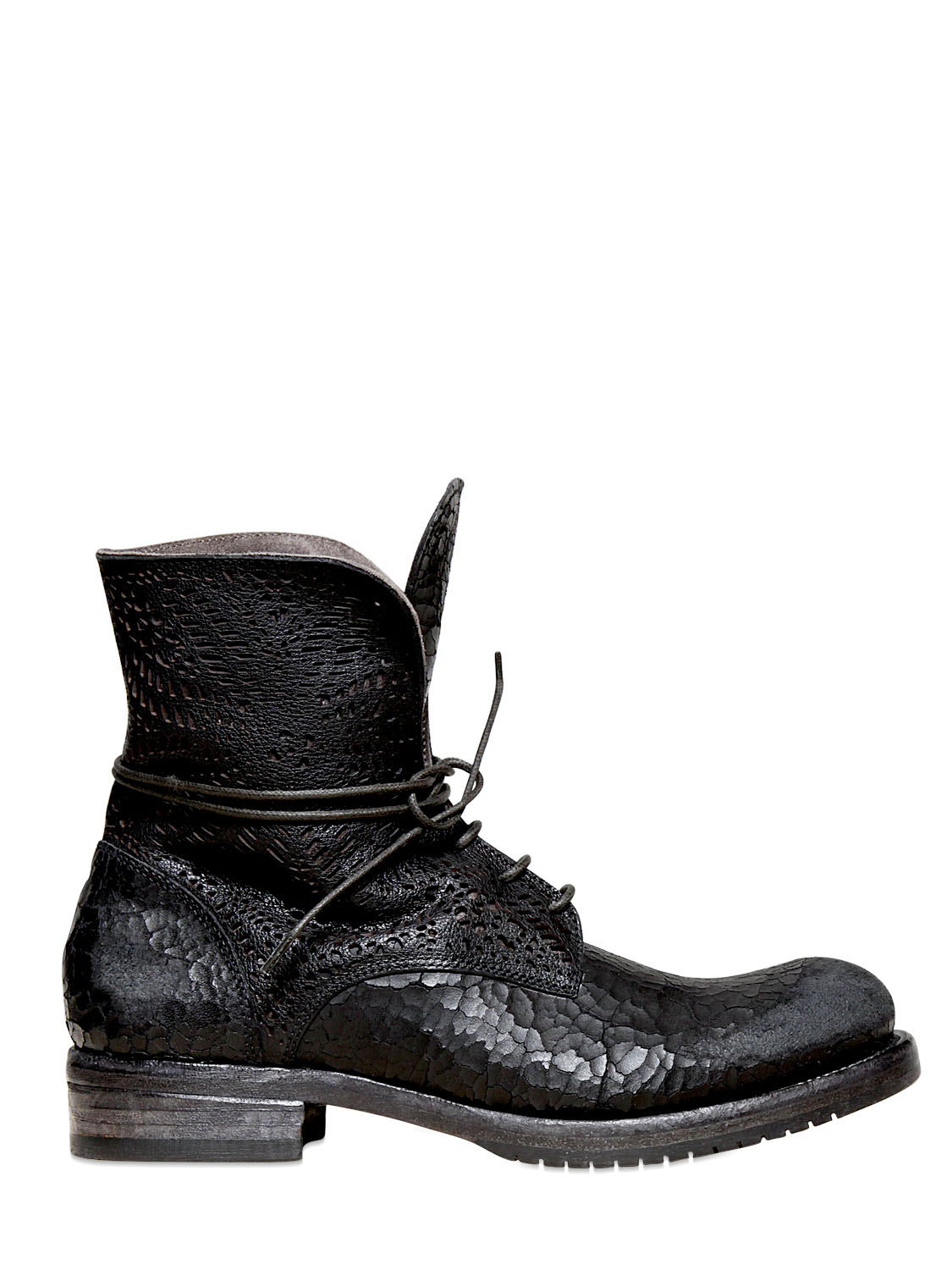Lyst Ink 20mm Lasered Leather Lace Up Boots In Black