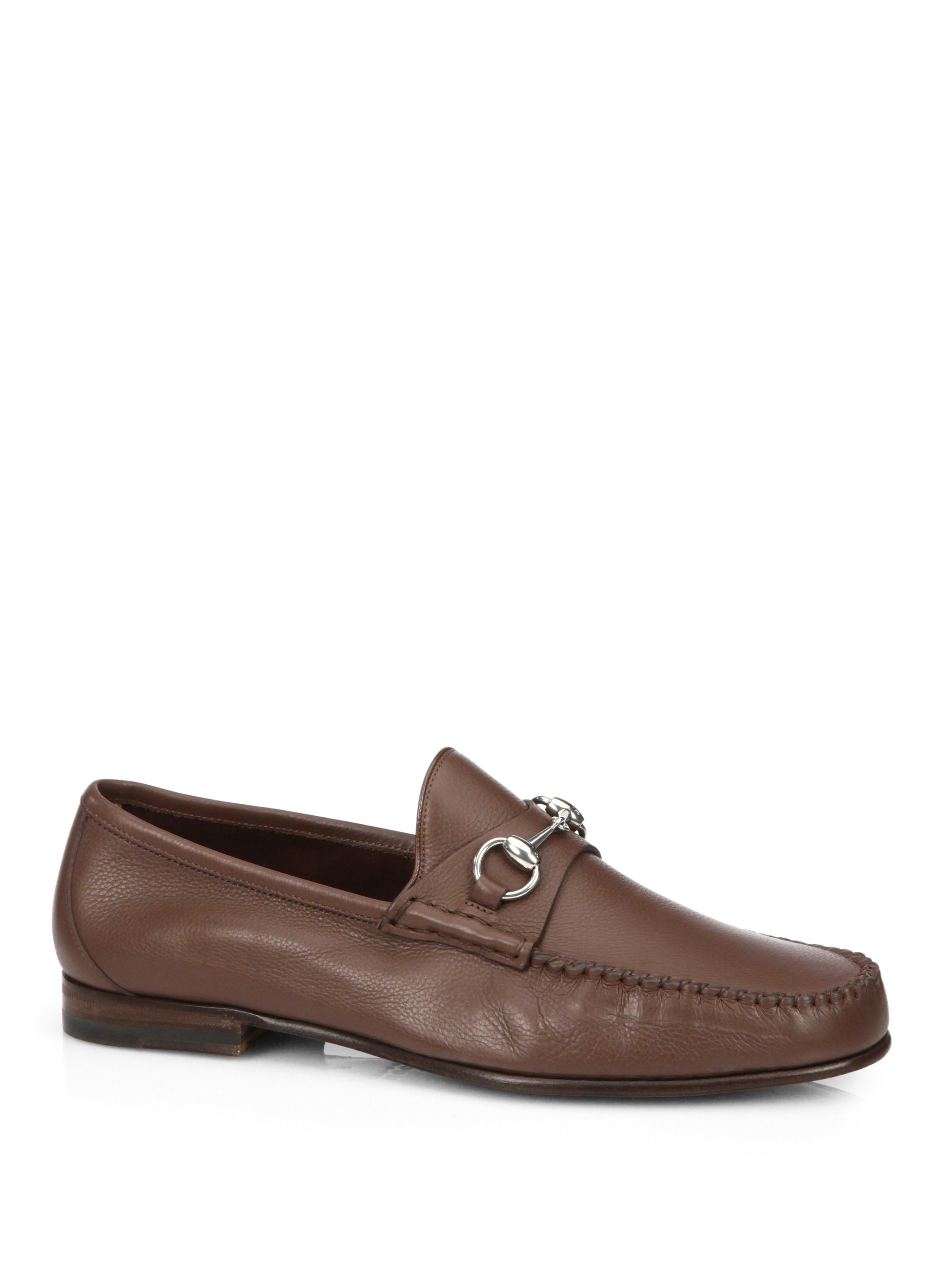gucci leather horsebit loafers in brown for men lyst. Black Bedroom Furniture Sets. Home Design Ideas
