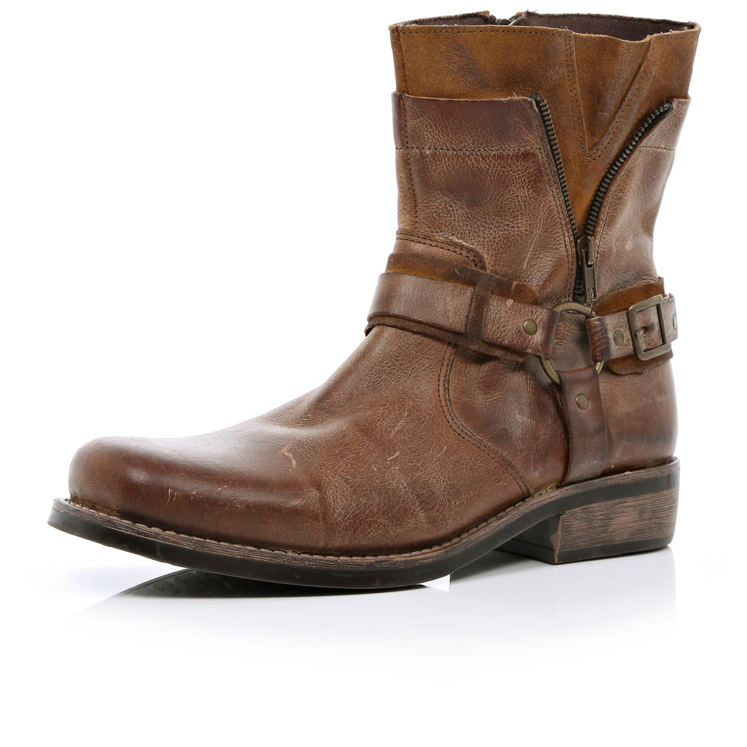 River Island Brown Distressed Biker Boots In Brown For Men