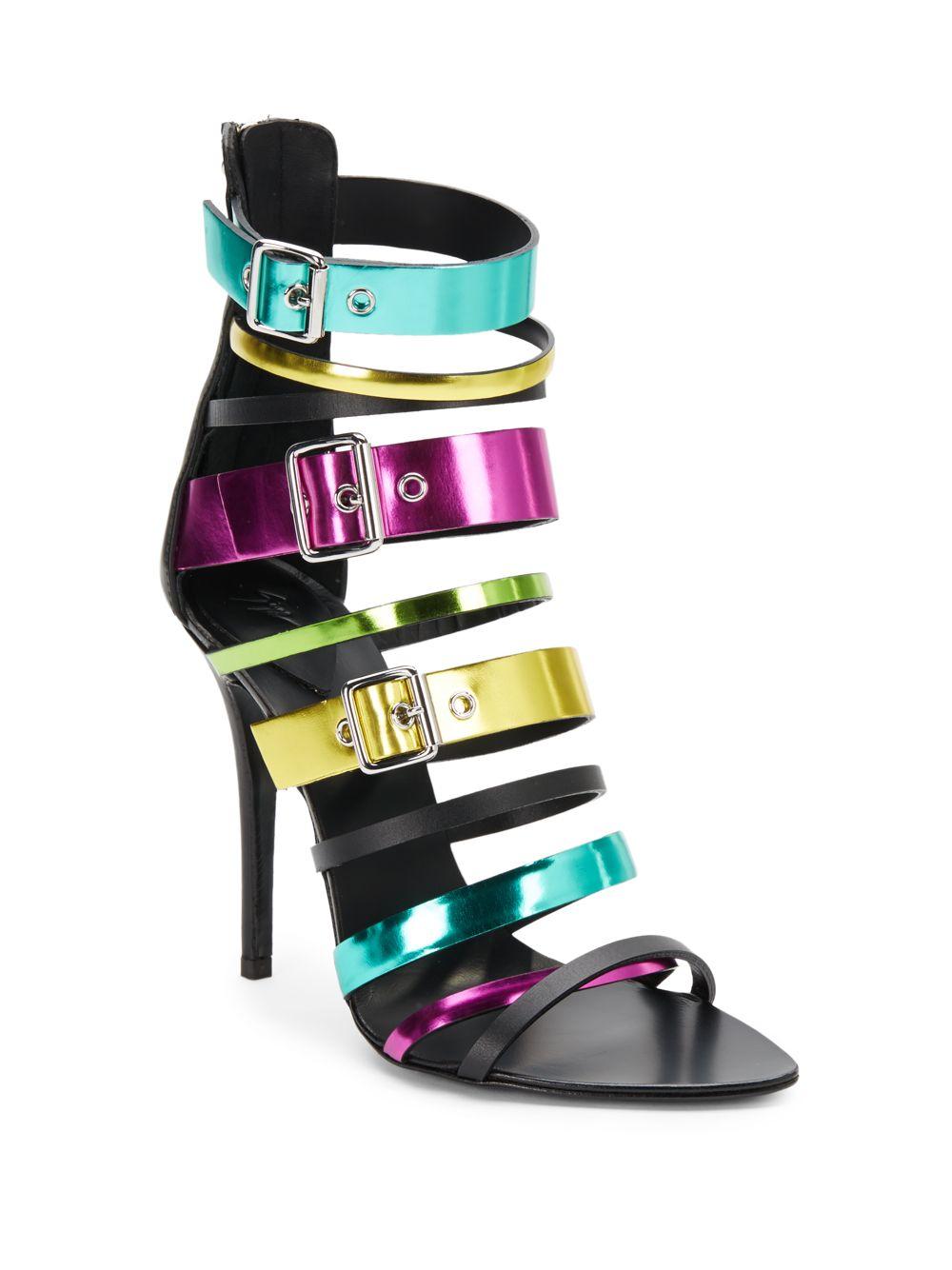 2c6bf2efbfff Lyst - Giuseppe Zanotti Multi Color Metallic Leather Strappy Sandals