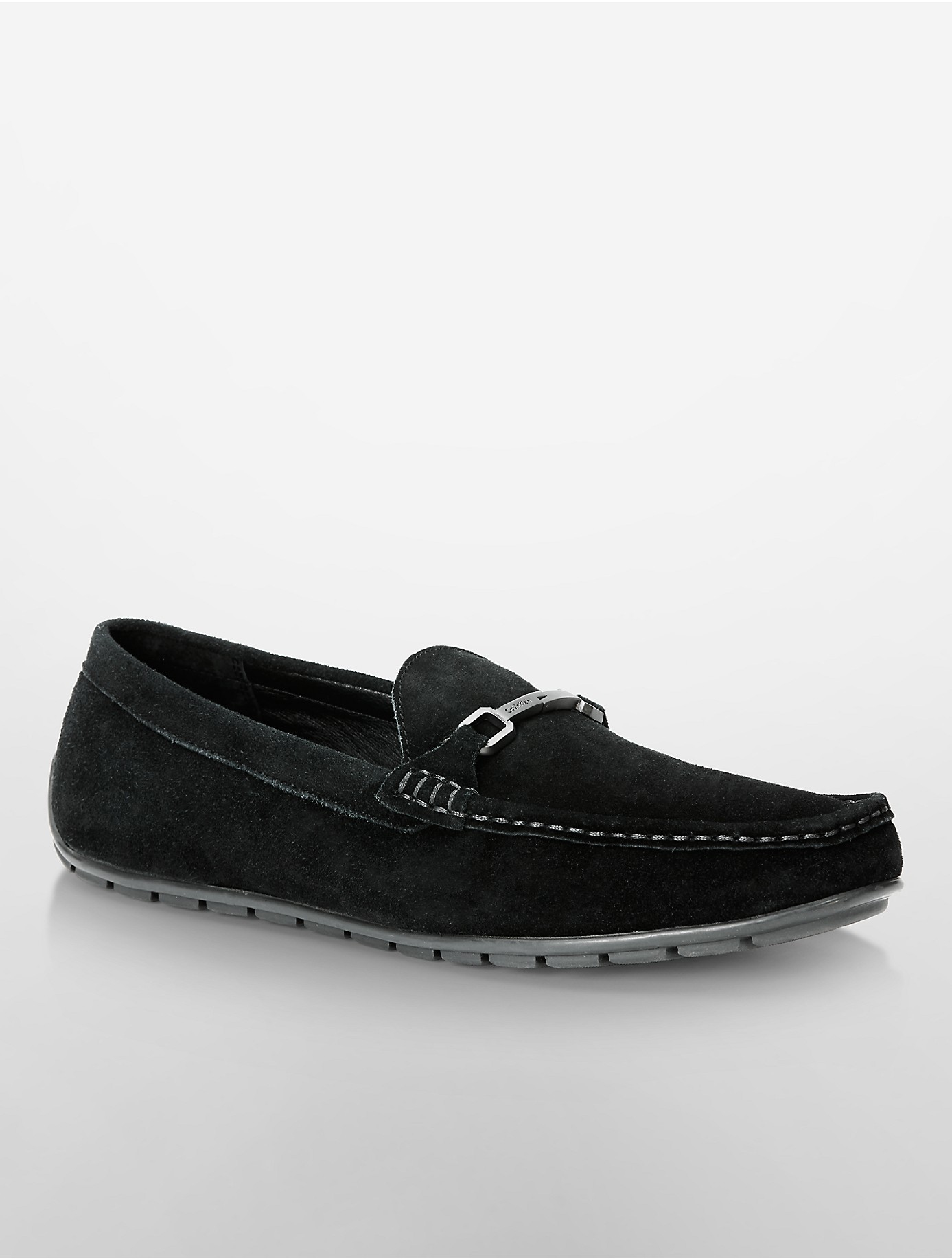 3d5656e68cd Lyst - Calvin Klein Isley Suede Driving Loafer in Black for Men