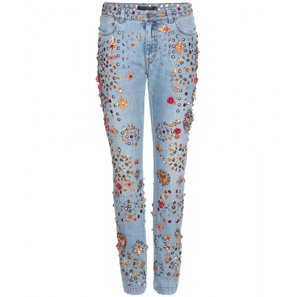 dolce gabbana embellished boyfriend low rise denim jeans. Black Bedroom Furniture Sets. Home Design Ideas