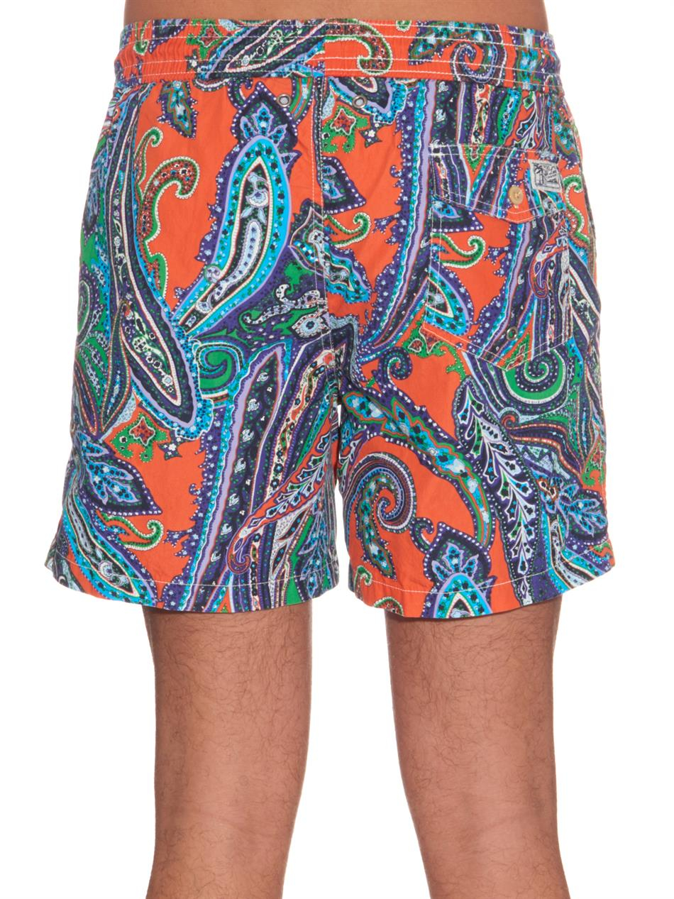 c2089fa7c3 ... get lyst polo ralph lauren paisley cotton blend swim shorts in orange  719ce c4210