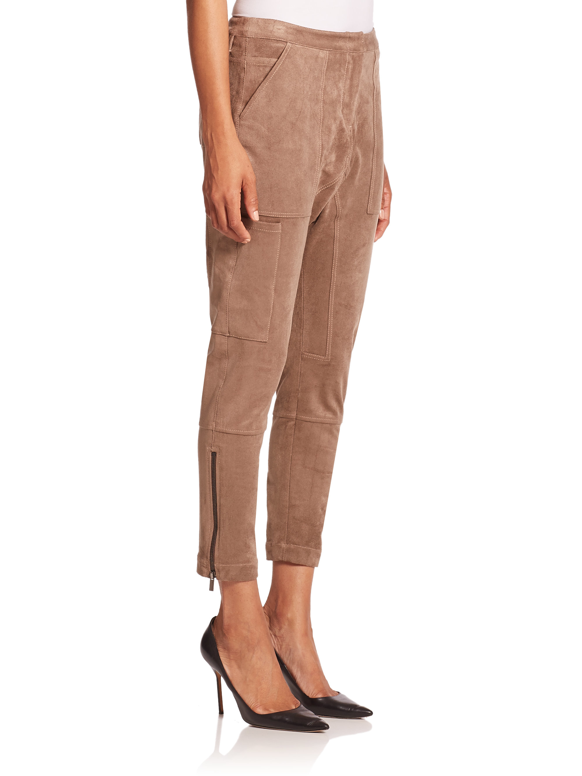 These are a beautiful pair of suede pants, but they just don't fit my waist like I would like them to, which is the reason why I'm posting them. They look kind of scraggly in a photos because suede at.