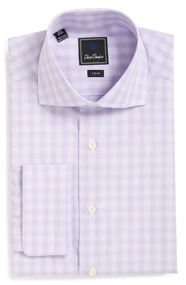 Lyst David Donahue Trim Fit Check Dress Shirt In Purple