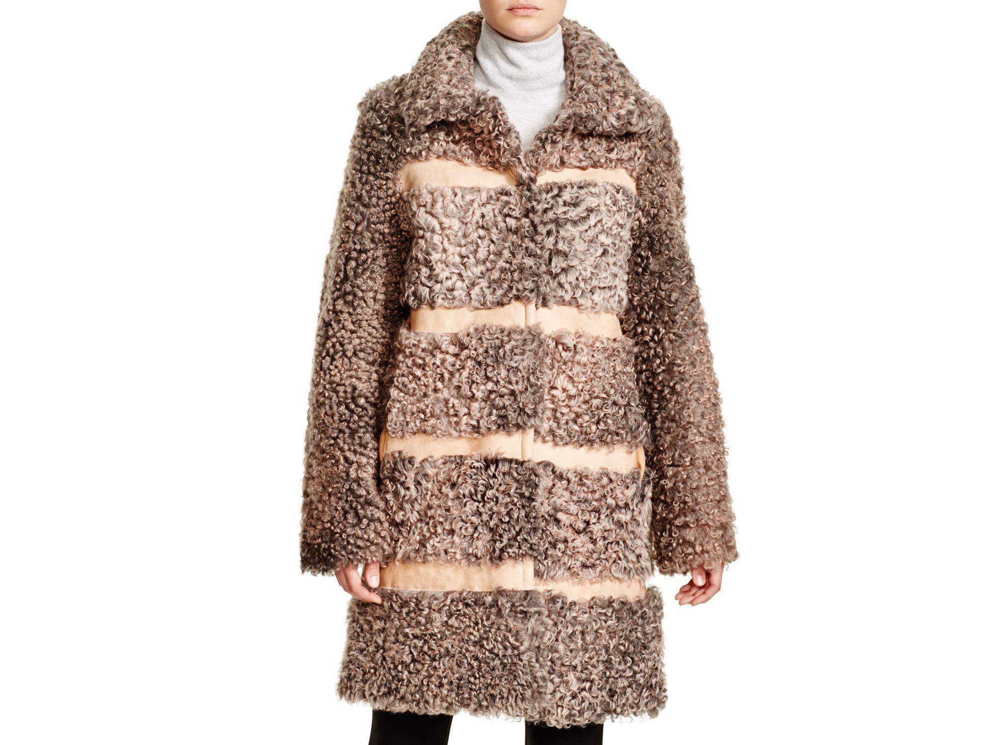 Maximilian Maximilian Reversible Leather Stripe Shearling Coat in ...