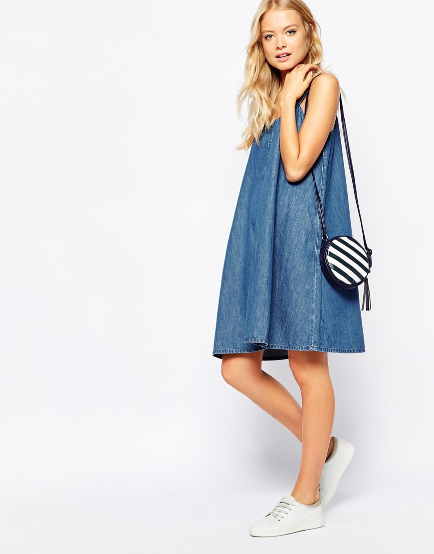 dc4cfbcb3ec Lyst - Monki Cami Denim Sun Dress in Blue