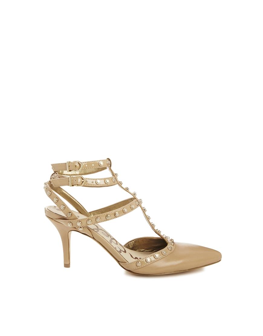 Sam Edelman Ollie Stud Detail Mid Heel Shoes In Beige